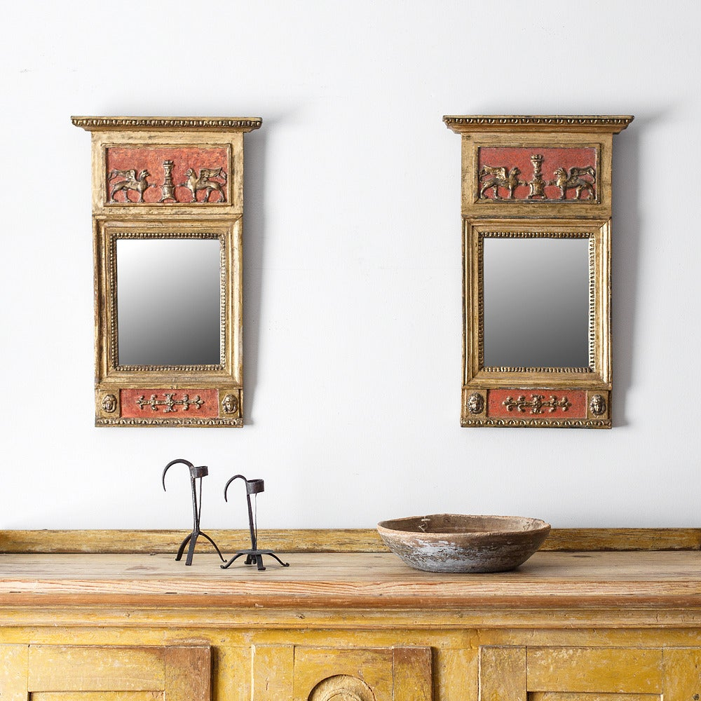 Fine pair of 19th century Swedish Empire mirrors signed by C. Werné. (master mirror maker). ca 1820, Sweden
