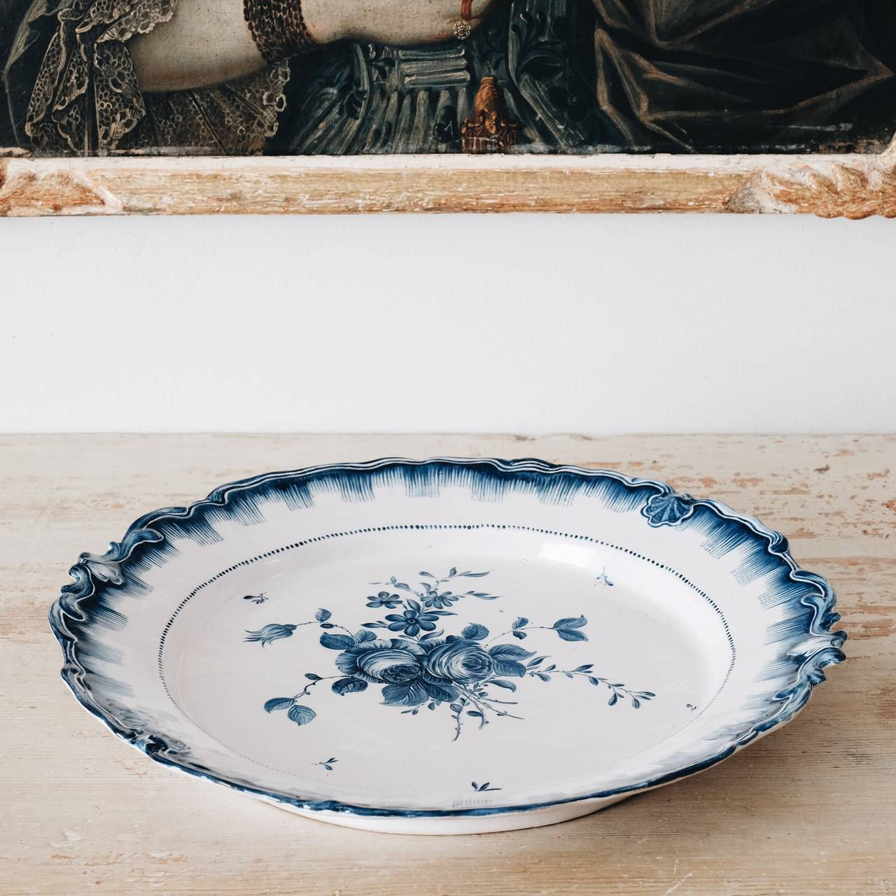 Unusually large Richly decorated Swedish faience plate from Marieberg porcelain factory in good condition. Dated 1766 and signed with three crowns/MB E.   Johan E L Ehrenreichs period 1758-1766  Signature Maker AB - Anders Berggren (1761-1775)