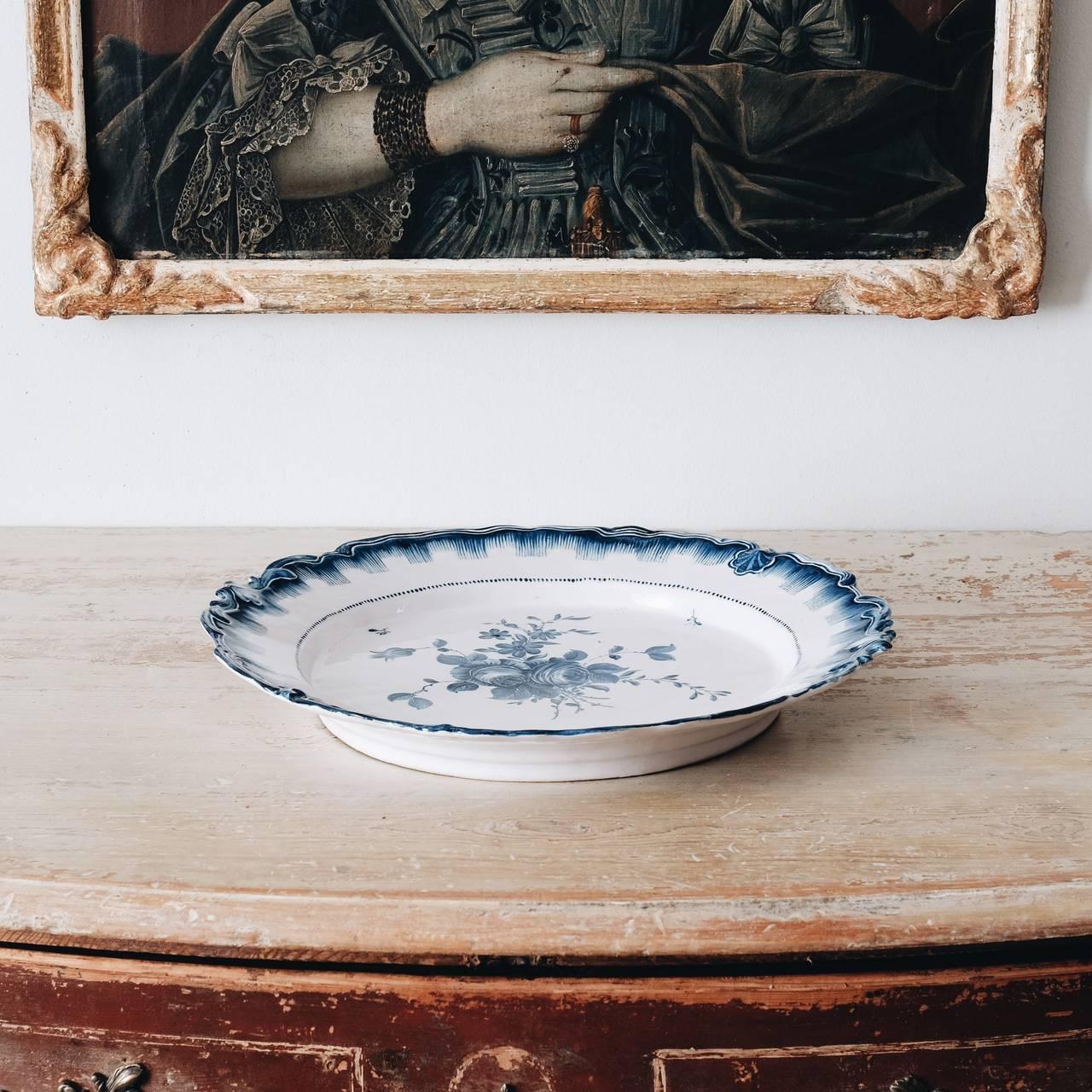Rococo 18th Century Swedish Faience Plate For Sale