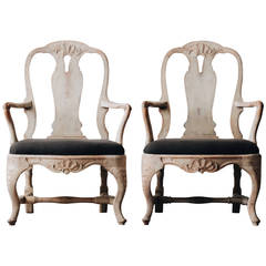 Pair of Swedish Rococo Armchairs, 1770