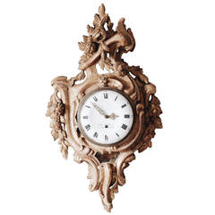 Swedish 18th Century Rococo Giltwood Wall Clock