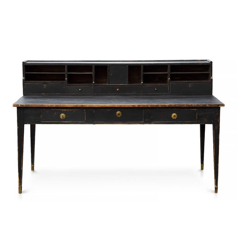 Stunning Swedish transitional late Gustavian or Empire three-drawer desk with a removable gallery which houses five drawers and 11 compartments in original color, circa 1815. This is unusually large and very rare desk.