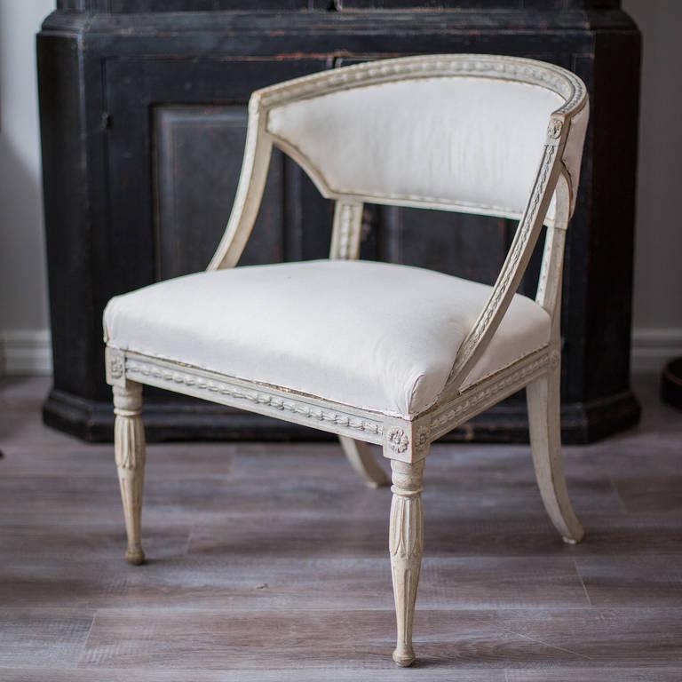 Wood Pair of 19th Century Swedish Gustavian Barrel Back Armchairs