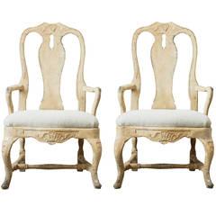 Pair of 18th Century Swedish Rococo Armchairs