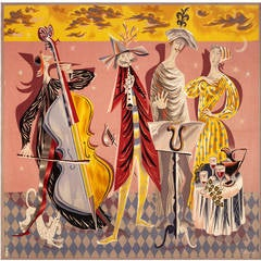 Modern Colorful Aubusson Tapestry - Marc Saint-Saëns - 1950s