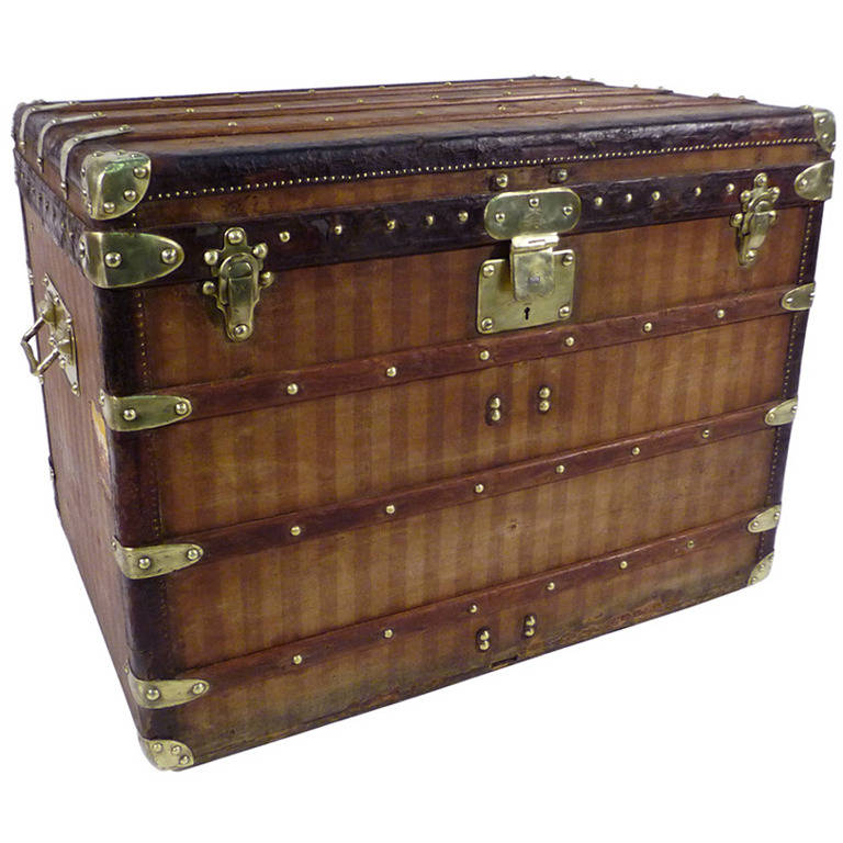 Louis Vuitton Striped Canvas Trunk Malle Ray At 1stdibs