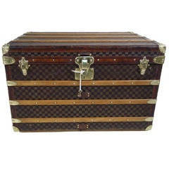Louis Vuitton Steamer Damier Trunk with Key, circa 1900s
