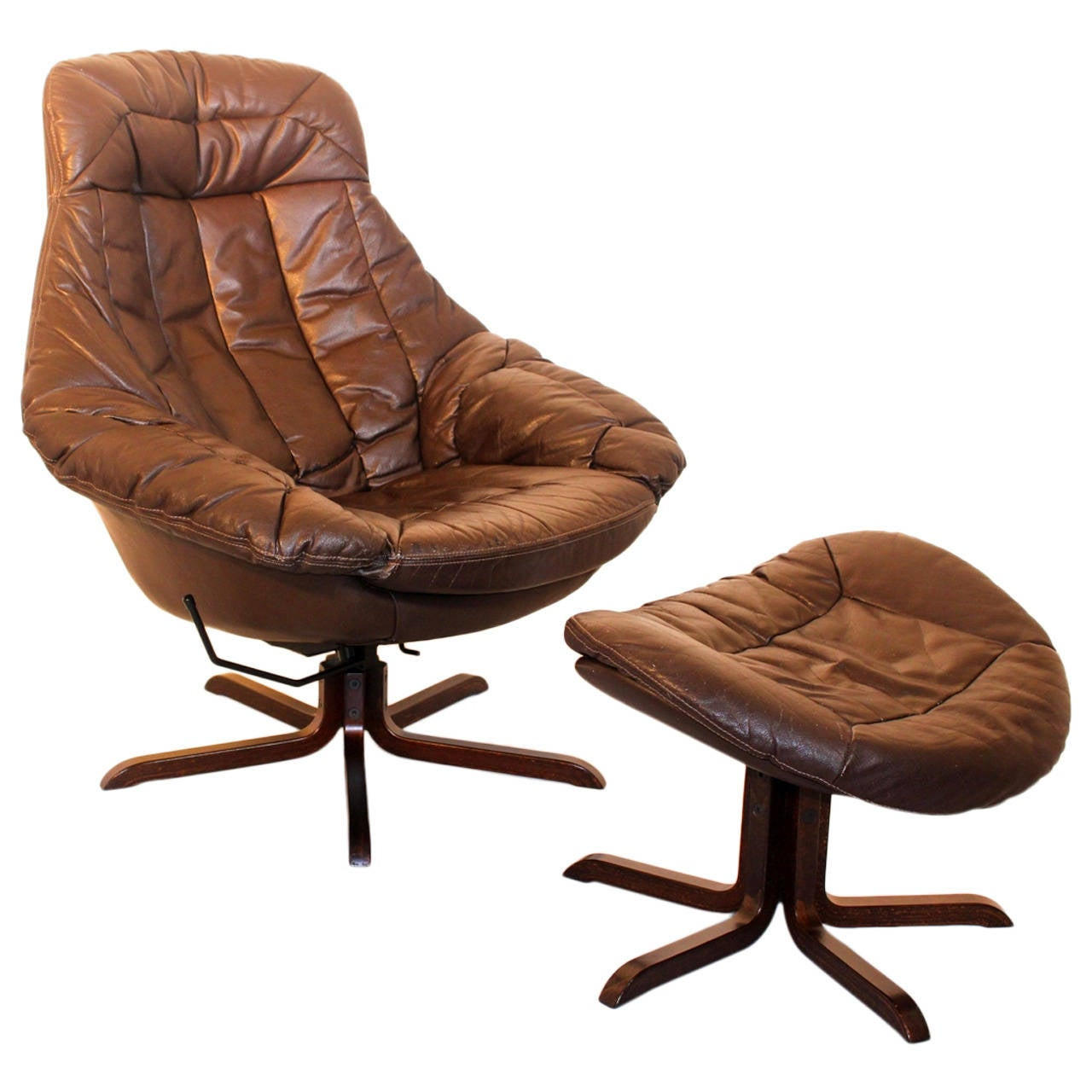 Brown Leather Lounge Chair with Ottoman by H. W. Klein, Denmark, 1970s