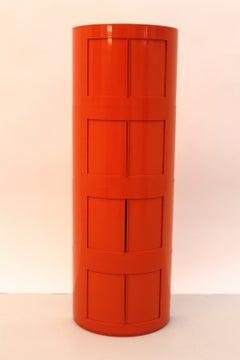 Space Age Plastic Orange Fiberglass Storage Box G. Castiglioni Italy, circa 1970