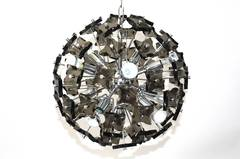 Chandelier with Smoked Glass Pieces in the Style of Fontana Arte, 1960s