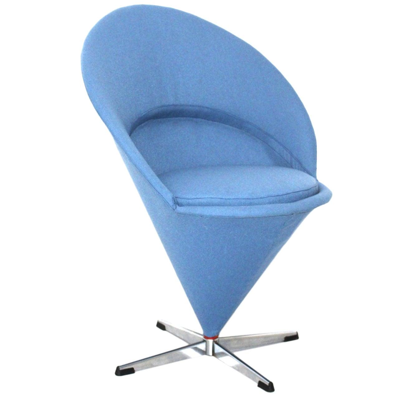 Blue Scandinavian Modern Cone Chair or Side Chair by Verner Panton Denmark 1958