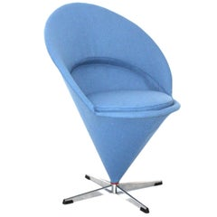 Blue Scandinavian Modern Cone Chair or Side Chair by Verner Panton Denmark 1958
