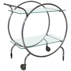 Art Deco Vintage Metal Bar Cart Staatliches Bauhaus Dessau attr Germany c 1928