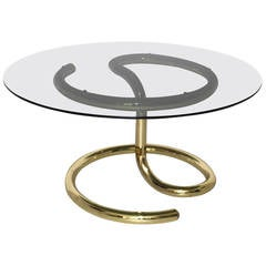 Space Age Brass Plated Coffee Table Anaconda 1970
