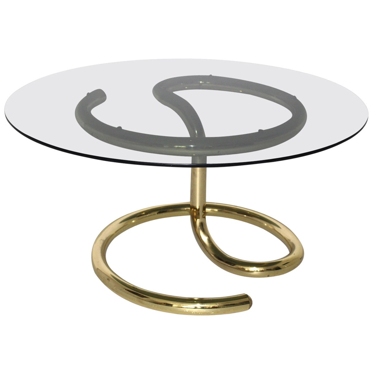 Brass Plated Vintage Mid Century Modern Coffee Table Anaconda 1970