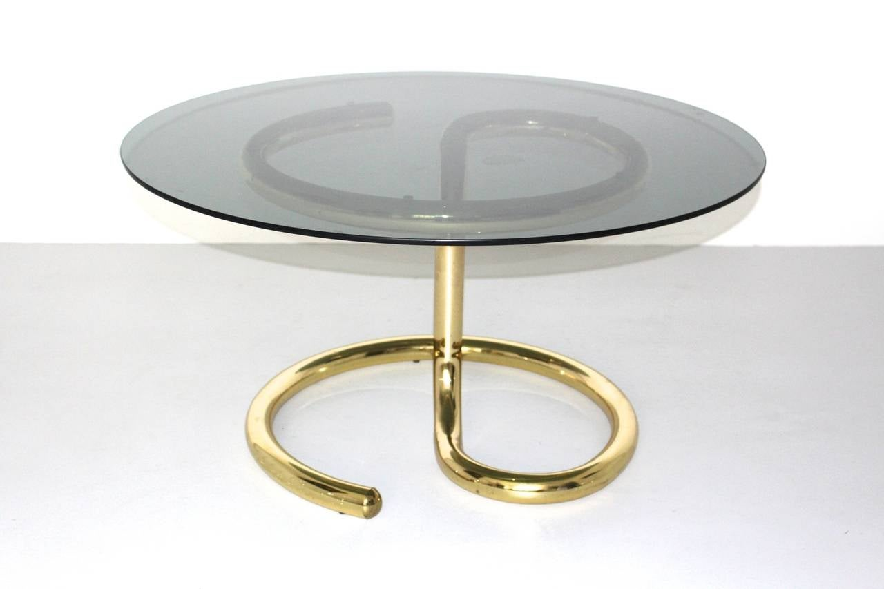 Swiss Space Age Brass Plated Coffee Table Anaconda 1970 For Sale