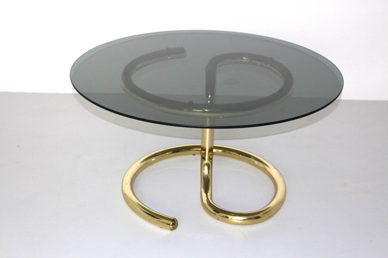 Mid-Century Modern Space Age Brass Plated Coffee Table Anaconda 1970 For Sale