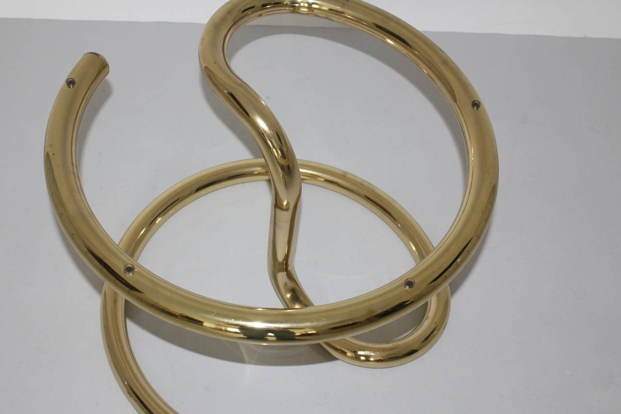 Space Age Brass Plated Coffee Table Anaconda 1970 In Excellent Condition For Sale In Vienna, AT