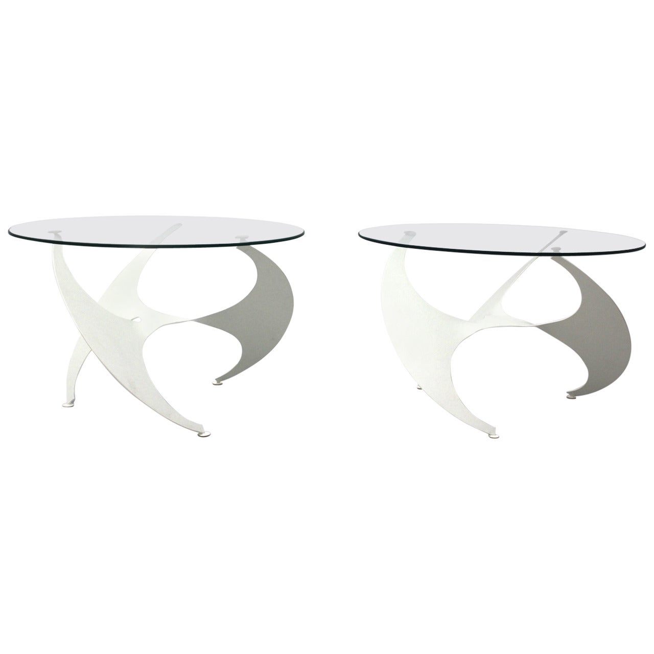 Space Age Pair of White Vintage Metal Coffee Table Knut Hesterberg 1960