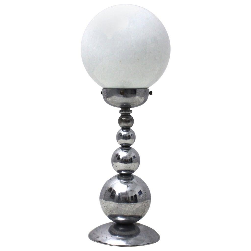 French Mid-Century Modern Chrom Table Lamp, France, circa 1950