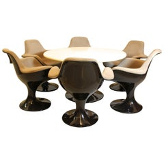 Brown Fiberglass Dining Chairs and Table Markus Farner Walter Grunder c 1970 USA