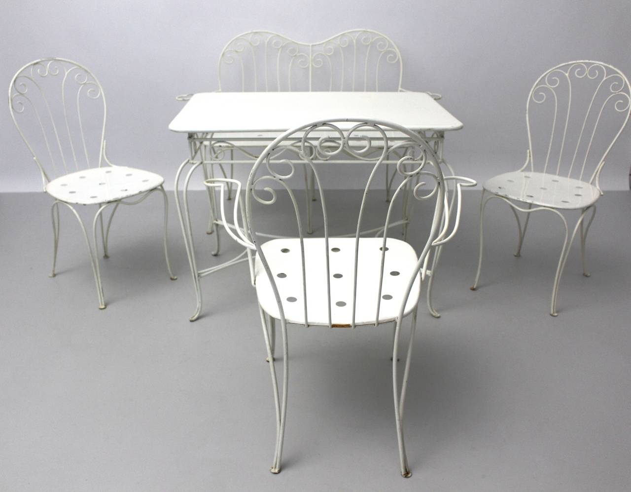 Mid-Century Modern Mid Century Modern White Metal Vintage Seating Group 1950s Austria For Sale