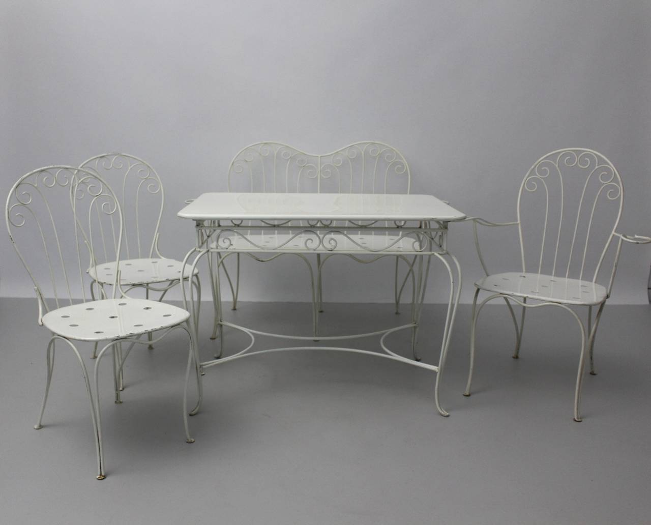 Austrian Mid Century White Metal Seating Group by Stanislaus Karasek and Co 1950s Austria For Sale