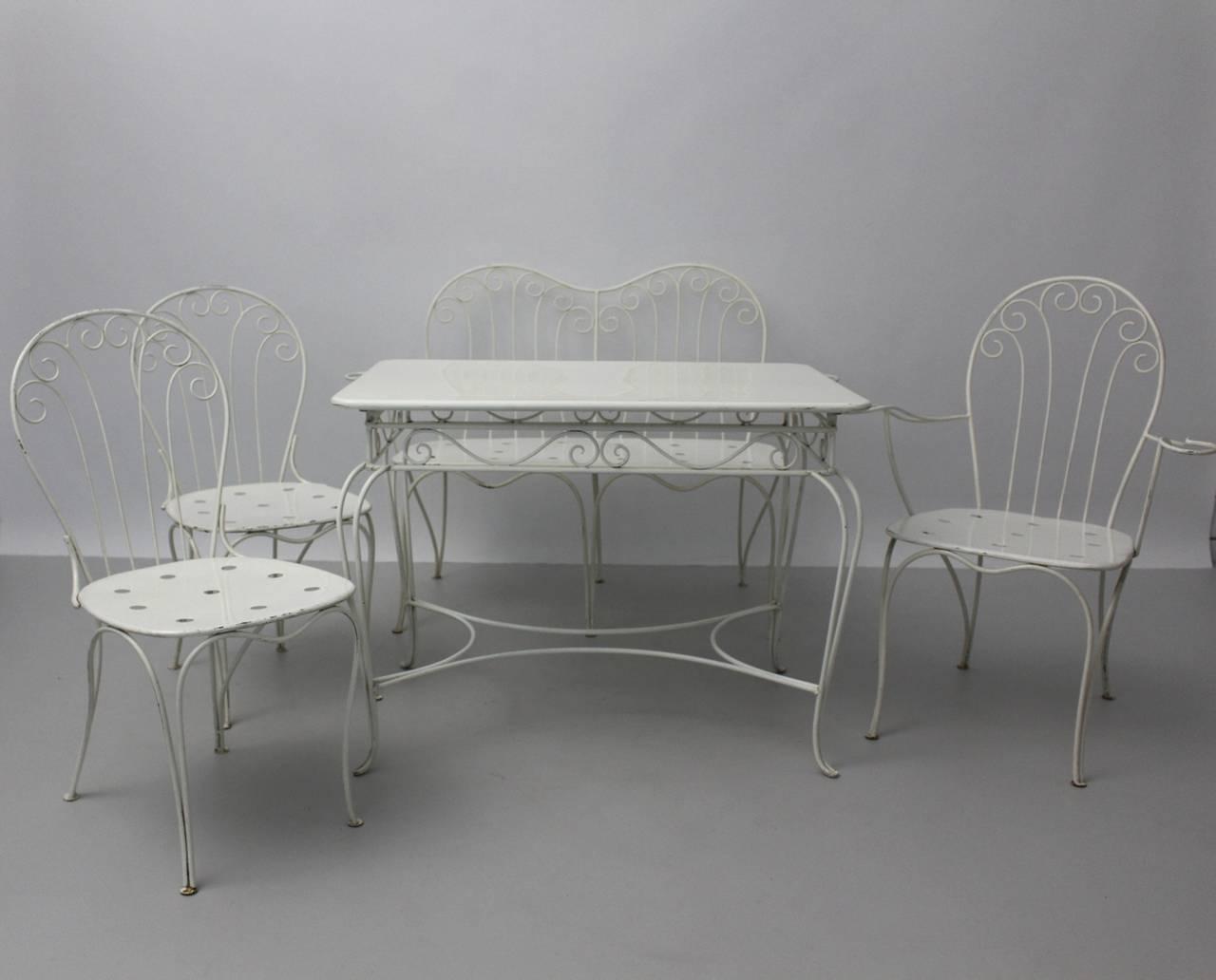 Austrian Mid Century Modern White Metal Vintage Seating Group 1950s Austria For Sale