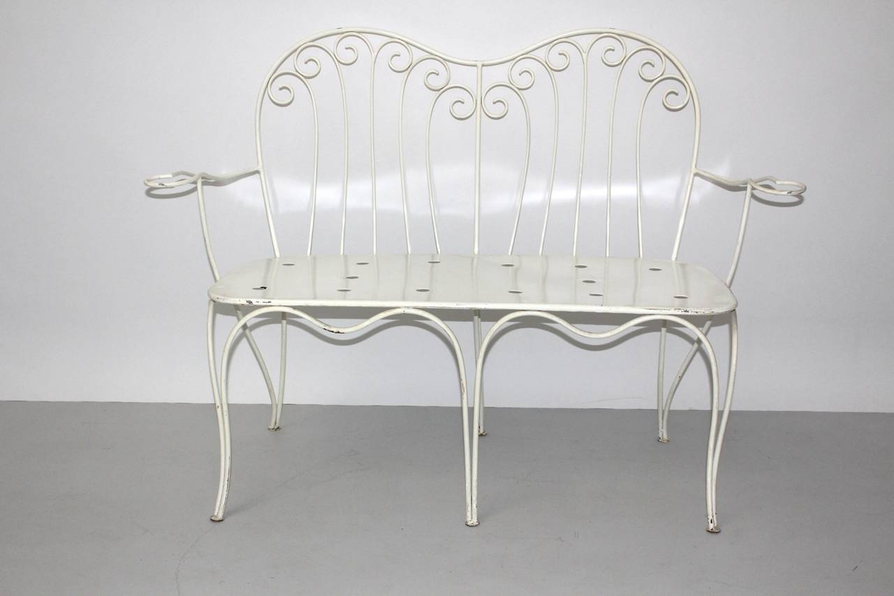 Lacquered Mid Century Modern White Metal Vintage Seating Group 1950s Austria For Sale