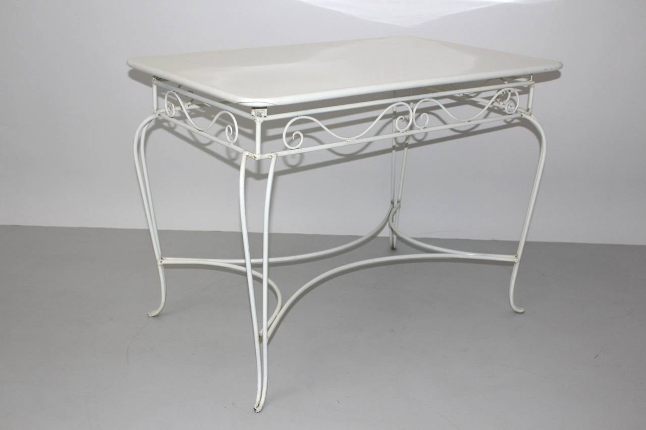 Mid-20th Century Mid Century Modern White Metal Vintage Seating Group 1950s Austria For Sale