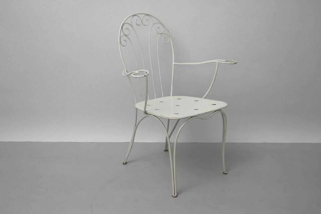 Mid Century Modern White Metal Vintage Seating Group 1950s Austria For Sale 1