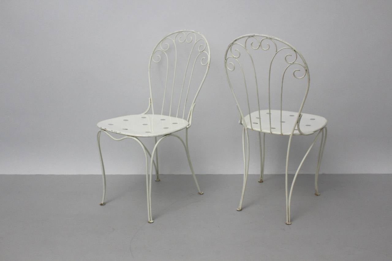Mid Century Modern White Metal Vintage Seating Group 1950s Austria For Sale 2