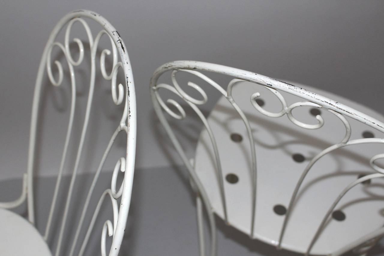 Mid Century Modern White Metal Vintage Seating Group 1950s Austria For Sale 3
