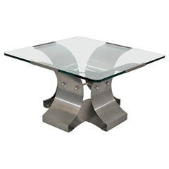 Mid-Century Modern Steel Coffee Table by François Monnet, France, 1970s