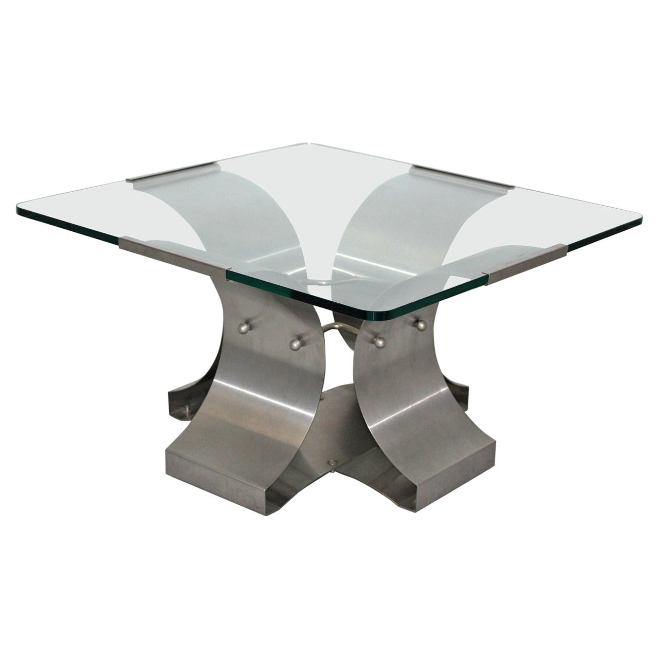 Mid-Century Modern Steel Vintage Coffee Table by François Monnet France 1970s