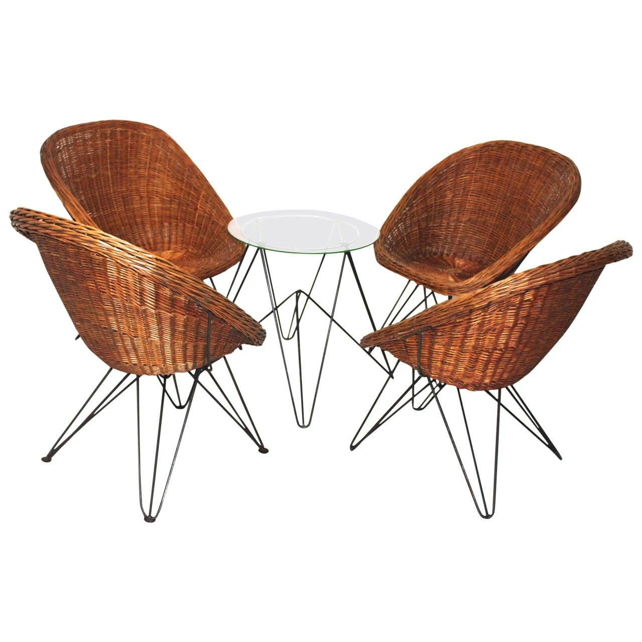Mid Century Wicker Seating Set By Rohe Noordwolde