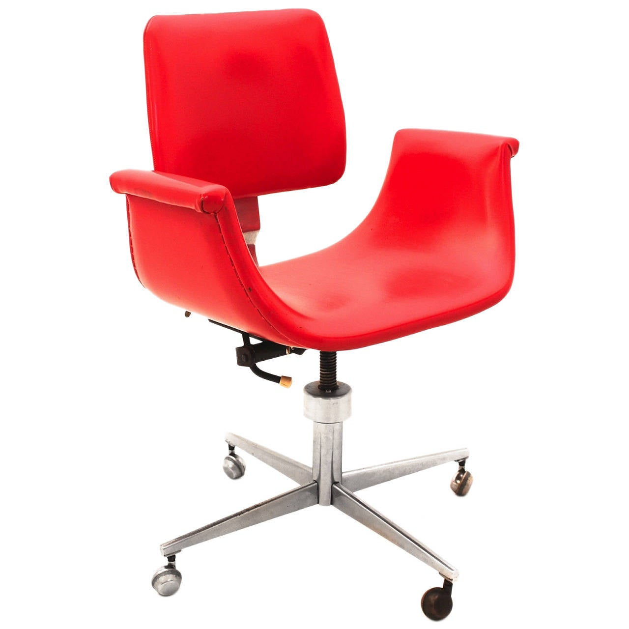 Superbe Red Mid Century Modern Swivel Desk Chair Italy 1950 For Sale
