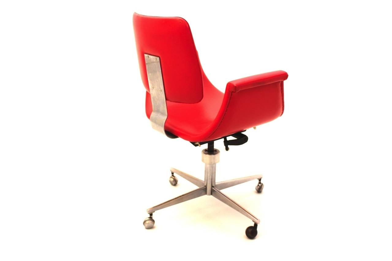 Red Mid Century Modern Swivel Desk Chair Italy 1950 For Sale At 1stdibs