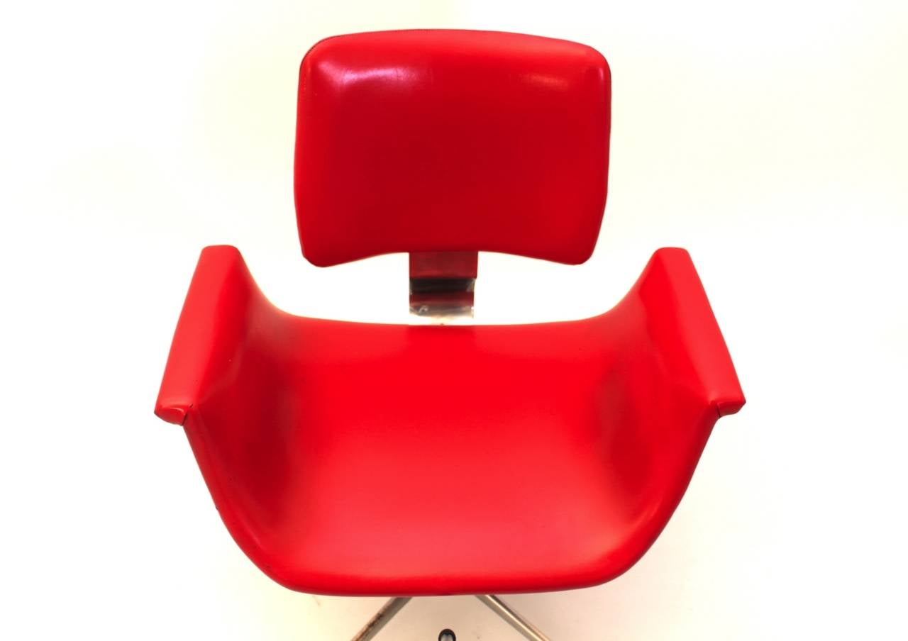 Mid-20th Century Mid-Century Modern Red Vintage Swivel Desk Chair, Italy, 1950 For Sale