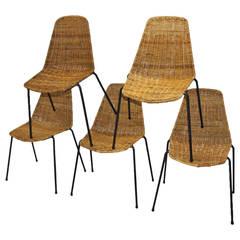 """Basket"" Wicker Chairs by Gian Franco Legler, Switzerland, 1951- 9 chairs"