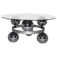 Sputnik Space Age Coffee Table, Chrome, circa 1970, Germany