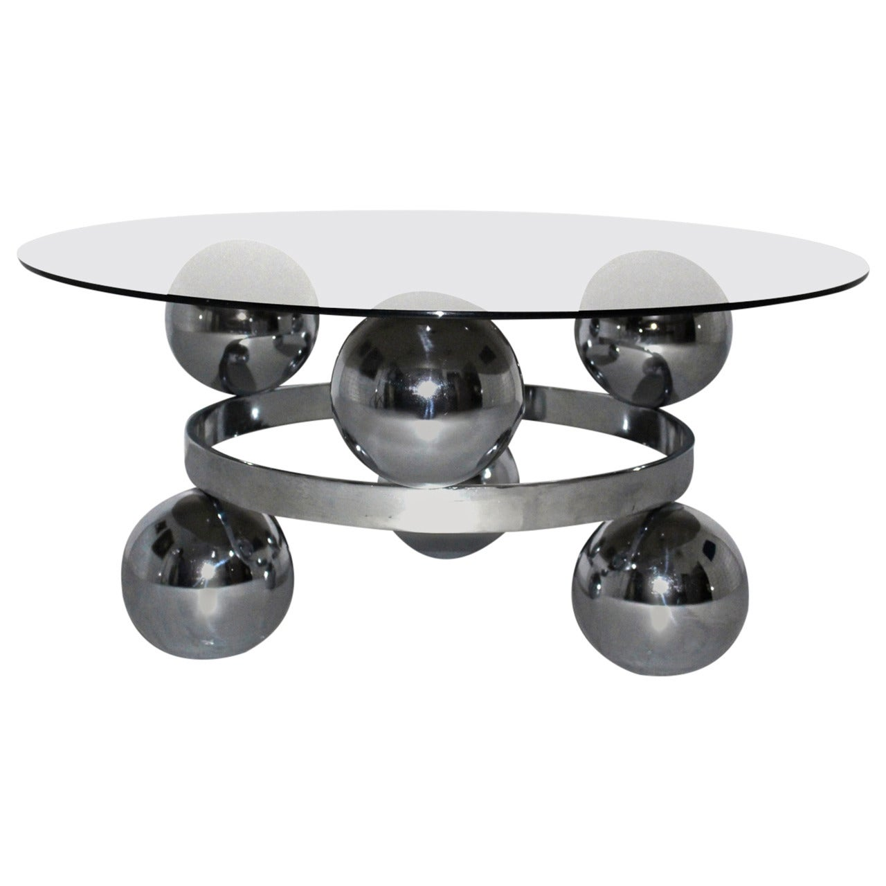 Space Age Vintage Chrome Coffee Table circa 1970 Germany