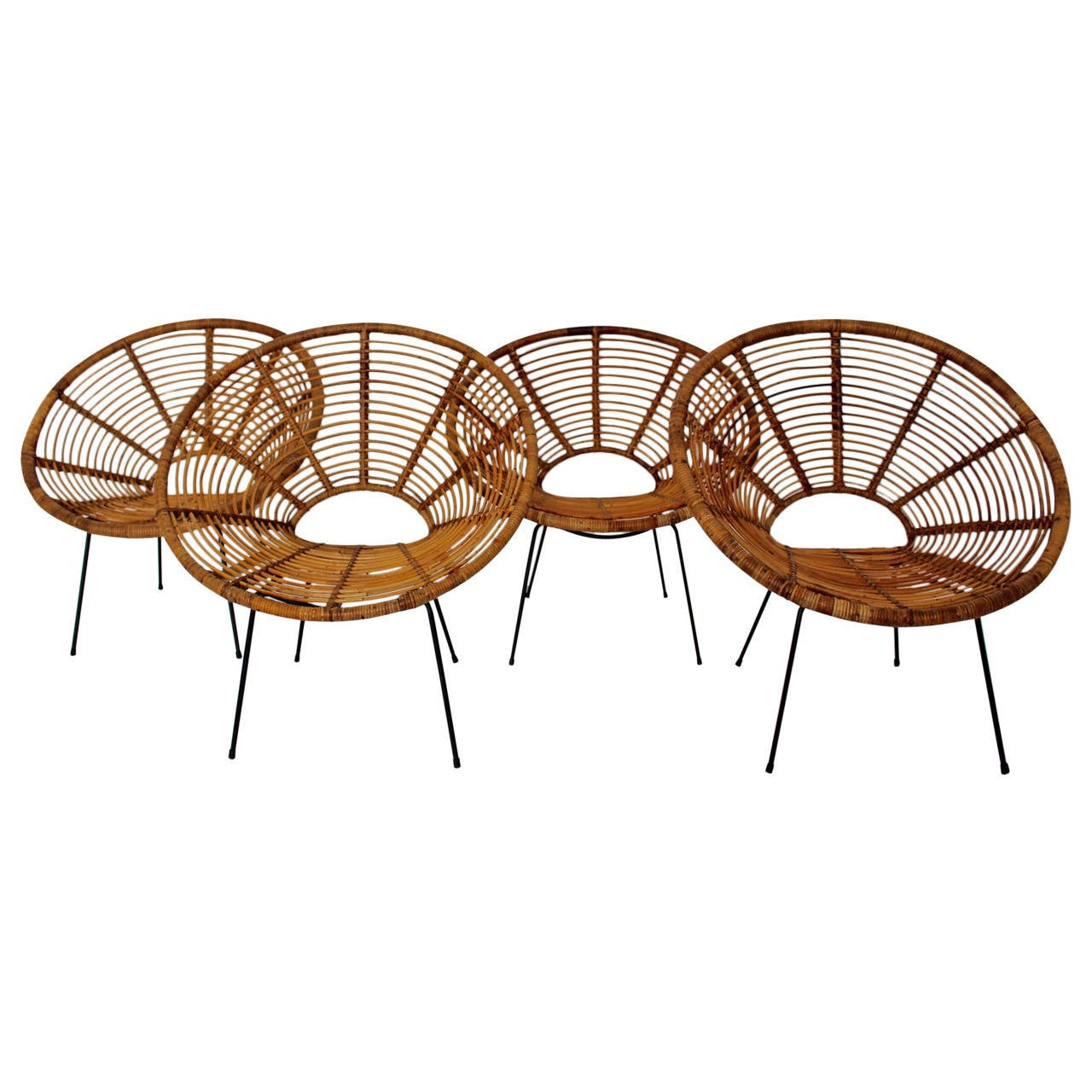 Mid Century Modern Rattan Vintage Chairs France 1950s Set of four Rattan Metal For Sale