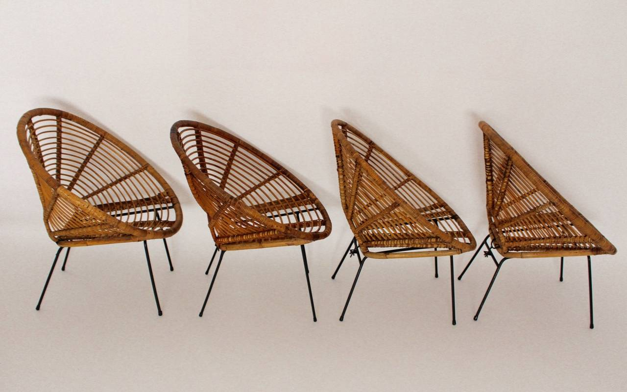 Mid-Century Modern Mid Century Modern Rattan Vintage Chairs France 1950s Set of four Rattan Metal For Sale