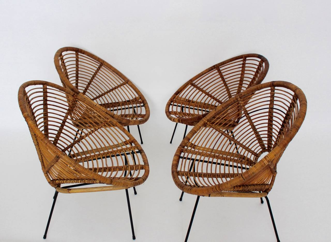 Steel Mid Century Modern Rattan Vintage Chairs France 1950s Set of four Rattan Metal For Sale