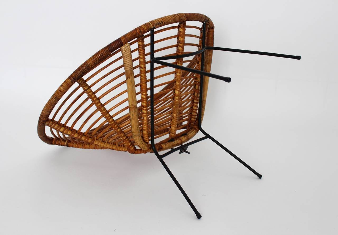 Mid Century Modern Rattan Vintage Chairs France 1950s Set of four Rattan Metal For Sale 1