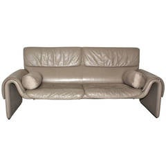 Grey Vintage Leather Bench De Sede 1980s