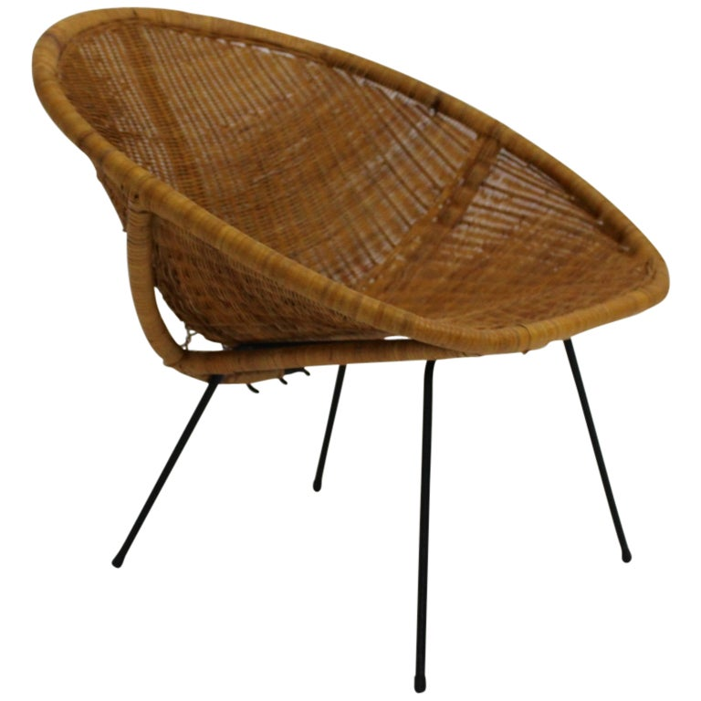 Mid Century Modern Vintage  Rattan Club Chair France 1950s For Sale