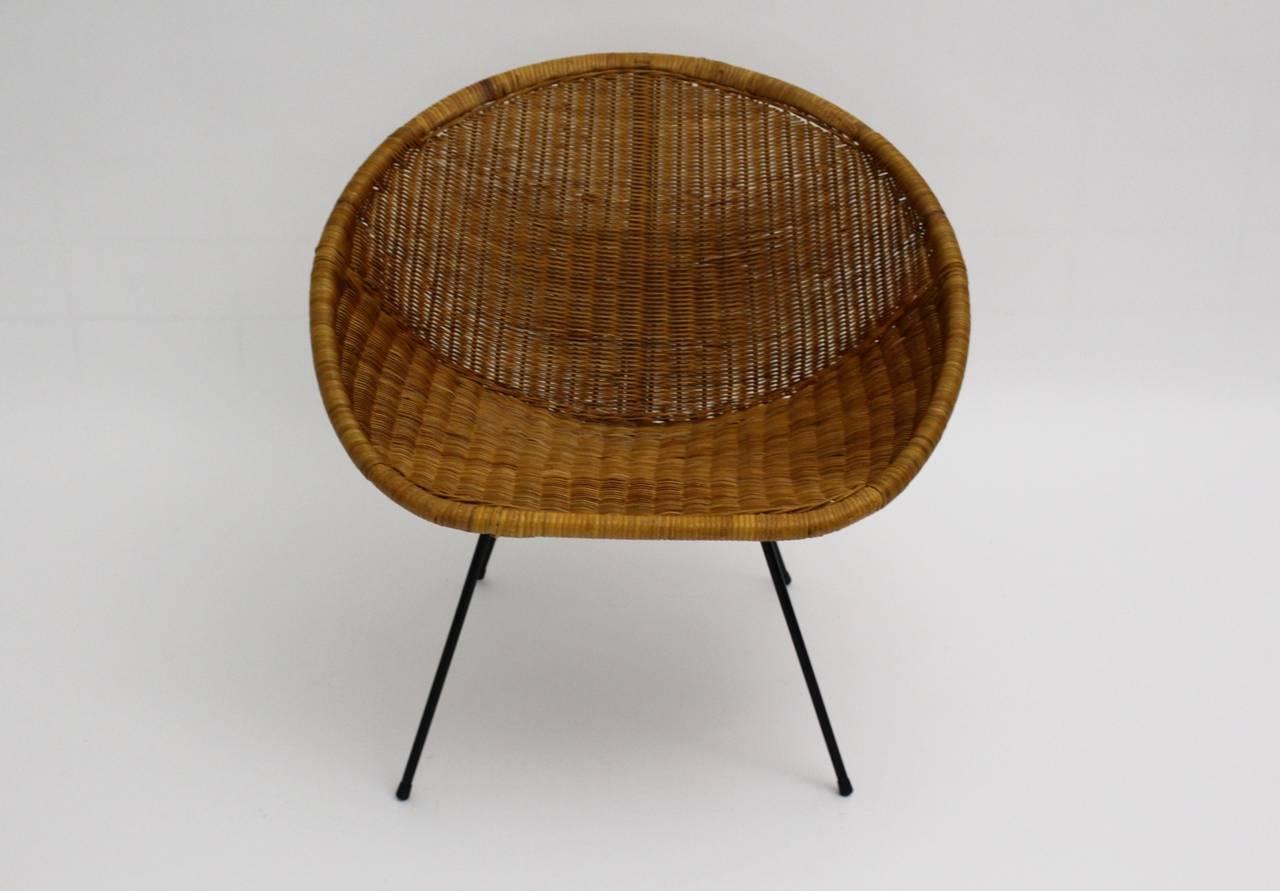 An amazing mid century modern vintage woven rattan club chair, which was designed and produced in France 1950s. The base was made out of a black lacquered wire steel base with rubber feet, while the comfortable seat shell was made of woven