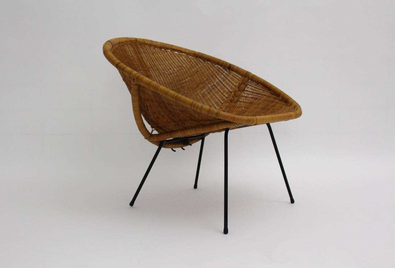 French Mid Century Modern Vintage  Rattan Club Chair France 1950s For Sale
